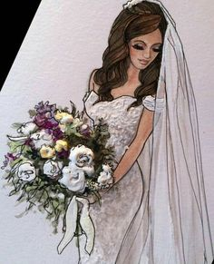 Be Inspirational❥ Mz. Manerz: Being well dressed is a beautiful form of confidence, happiness & politeness Wedding Dress Illustrations, Wedding Dress Sketches, Wedding Illustration, Designer Wedding Dresses, Wedding Drawing, Fashion Illustrations, Bride Clipart, Bff Drawings, Fashion Art