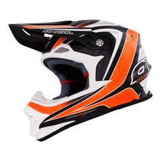 O'Neal RACE 8Series Helmet orange  Lightweight fiberglass construction Shell weight (±50g): 1200g (size L) Height adjustable visor Oversized vents throughout the helmet help keep you cool and dry Ultra-plush, removable and washable inner liner, with custom graphics Sweat absorbing inner liner Large eye port for maximum visibility and superior goggle fit Removable mouth piece and nose huard for easy cleaning Meets standards: DOT, ECE 22-05, ISO (head), JIS, and ACU  TIMH:150€