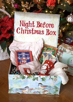 From teens to toddlers start a new family tradition on Christmas Eve with this Night Before Christmas Box with Free Printable Label Fun for the whole family OHMY-CREATIVE. Noel Christmas, Diy Christmas Gifts, Christmas Projects, Winter Christmas, Christmas Decorations, Christmas Books, Christmas Eve Box Ideas Kids, Christmas Gifts For Children To Make, Handmade Christmas