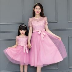 mother daughter dress Summer family outfits short sleeve chiffon lace dresses mother daughter dresses clothes look matching _ {categoryName} - AliExpress Mobile Version - Mommy And Me Dresses, Mother Daughter Dresses Matching, Mother Daughter Fashion, Matching Family Outfits, Lace Mesh Dress, Girls Lace Dress, Girls Dresses, Maxi Dresses, Pink Dresses