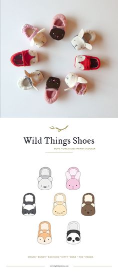 Wild Things Baby Shoes sewing pattern by Twig and Tale.