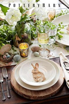Hop to it! Get set for Easter with playful bunny decor, cheerful colored linens and easy centerpieces that mix effortlessly with your favorite family heirlooms.