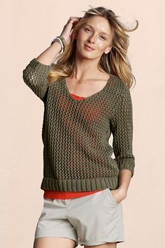 Canvas Women's Fishing Net Sweater from Lands' End