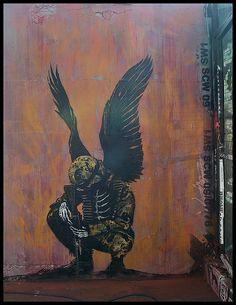 Angel of War by Paul Insect Amazing Street Art, Amazing Art, War Tattoo, Vito, Graffiti Murals, Angels And Demons, Chalk Art, Urban Art, Canvas Art Prints