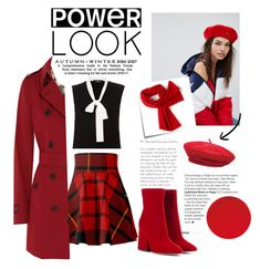 """RED: Power LOOK ❤️"" by shy-kitten ❤ liked on Polyvore featuring Paule Ka, kangol, Post-It, Brixton, Lacoste, Alexander McQueen, Burberry and Maison Margiela"