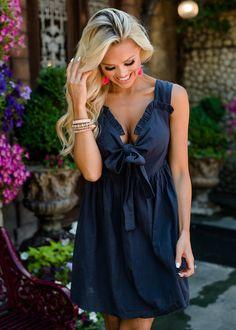 c67c0fcc73f Never Seen Such Beauty Dark Denim Bow Dress