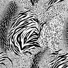 Black And White Mixed Animal Print Seamless Pattern Vector Pet Tiger, Animal Print Fashion, Bandana Print, Illustrations, Texture, Vector Design, Duvet Covers, Print Patterns, Vibrant Colors