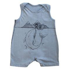 Organic Cotton Shorts Romper, Whale