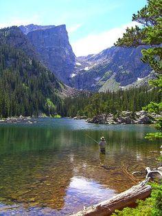 Fishing at Dream Lake .......... by Matt Hedric