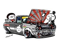 "car illustration""crazy car art""jdm japanese old school ""HAKOTORA""original cartoon ""mame mame rock"" / © ozizo""Crazy Car Art"" Line stichersLINE STOREhttps://store.line.me/stickershop/product/1254713"