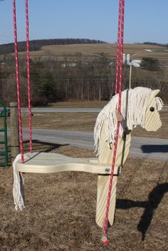 Cute horse swing to make for Grace. Cute horse swing to make for Grace. Horse Crafts, Wood Crafts, Outdoor Projects, Wood Projects, Horse Swing, Wooden Horse, Cute Horses, Easy Woodworking Projects, Teds Woodworking