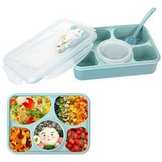 Bento Box Lunch Box in Spoon - Silicone Leakproof Healthy Lunch Boxes for Kids Adults - Food Grade Plastic Containers Crisper - Special Smart Valve Microwave-safe Green China Kitchen, Kitchen Dining, Cool Lunch Boxes, Lunch Containers, Storage Containers, Food Storage, How To Make Sandwich, Bento Box Lunch, Make Ahead Meals