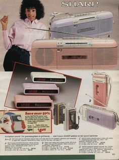 If you were a kid in the eighties then these pictures will make you nostalgia pretty damn hard. We've got Alf, huge personal stereos and even those weird water filled puzzle game things. 90s Childhood, My Childhood Memories, School Memories, Sweet Memories, Nostalgia, Vintage Advertisements, Vintage Ads, Vintage Music, Pink Radio