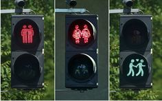 """Couples traffic lights, Vienna.  Heterosexual and same sex. """"building bridges"""" for Eurovision"""