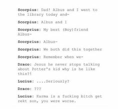 #HP #TCC #HPaTCC   Harry Potter and the Cursed Child   Scorpius and Albus   Draco and Lucius   Draco was probably ranting all over the place about Harry lol