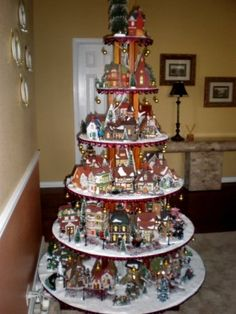 Christmas village tree- Great idea!