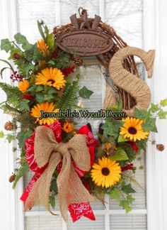 Summer Wreath Grapevine WesternCowboy Rustic with by JennaBelles, $65.00