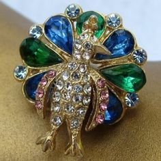 Gorgeous 'n Glistening - 1950's Peacock Pin by cecile