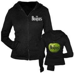 This Beatles women's hoodie style sweatshirt features the band's famous green apple logo. Featuring The Beatles on the upper left shoulder and a zip front closure, this hooded shirt prominently displays the green applo logo on the back.