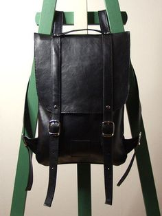 Black leather backpack rucksack / To order by kokosina on Etsy, $119.00