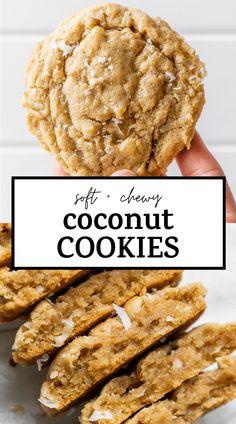 Coconut Desserts, Coconut Cookies, Coconut Recipes, Yummy Cookies, Vegan Desserts, Delicious Desserts, Coconut Cookie Recipe, No Sugar Desserts, Easy Cookie Recipes
