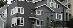 White trim on Seattle town house Exterior Trim, Exterior Paint, Painting Contractors, Town House, White Trim, White Paints, House Painting, Seattle, Multi Story Building
