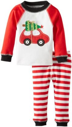 Two piece set includes long sleeved cotton top with coordinating red and white striped cotton leggings Top features a felt car with tree applique and contrasting stitching Top and bottom: machine wash cold, tumble dry low, do not bleach Mud Pie Baby-Boys Newborn Holiday Car Lounge Set, Multi, 0-6 Months