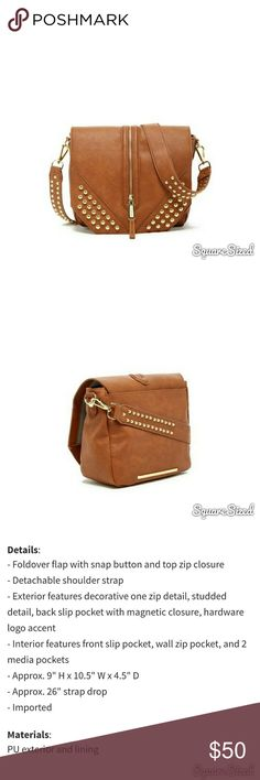 """*Just Reduced* Steve Madden studded crossbody Steve Madden """"Lucky"""" studded crossbody  NWT  Details in Pic #3  Color: Cognac with gold stud detail Steve Madden Bags Crossbody Bags"""