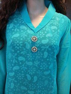 Blue collar Kurti with printed inner