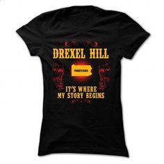 Drexel Hill - Its where story begin - #sudaderas hoodie #brown sweater. MORE INFO => https://www.sunfrog.com/Names/Drexel-Hill--Its-where-story-begin-Black-Ladies.html?68278