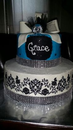 Damask glitzy birthday cake