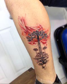 Araucaria tattoo watercolor New Tattoos, Tatoos, Tattoo Collection, Tattoo Magazine, Tattoo Artwork, Landscape Tattoo, Mountain Tattoo, Watercolor Tattoo, Tatting
