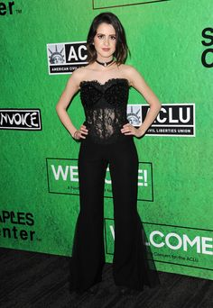 Laura Marano - WELCOME! Fundraising Concert Benefiting the ACLU at Staples Center in Los Angeles wearing a black Temraza jumpsuit