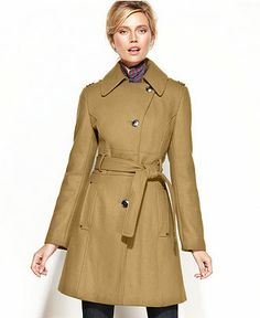 f3dceb0c617 Kenneth Cole Wool-Blend Belted Asymmetrical Trench Coat - Coats - Women -  Macy s Winter
