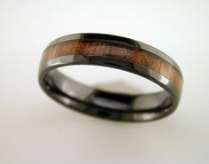Black Ceramic Koa Wood Ring With Double Row - Men's Wedding Ring - 6MM