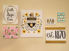 Love the idea of making little canvases that coordinate for a super cute gallery wall! Delta Phi Epsilon, Sigma Tau, Kappa Alpha Theta, Alpha Phi Omega, Alpha Chi, Delta Gamma, Big Little Basket, Big Little Gifts, Little Presents