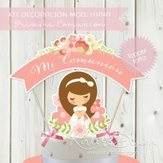 Kit Comunión Mod. Hana – KireiDesign First Communion Party, Coraline, Cake Toppers, Religion, Invitations, Happy, Babyshower, Scrapbooking, Party Ideas
