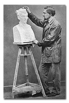Rodin working on Father Eymard's bust, 1863  Photograph by Charles Aubrey. + * The artist must create a spark before he can make a fire and before art is born, the artist must be ready to be consumed by the fire of his own creation.*