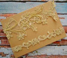 Gold/Champagne Wedding Garter Gold Beaded Lace Bridal Garter