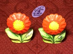 Vintage Ceramic Orange Daisy Flower Salt and Pepper Shakers Made in Japan by XtraLoveIncluded on Etsy