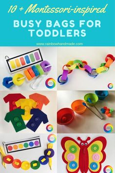 Montessori- inspired busy bags toys and activities for toddlers, toddler busy bags, busy bags for toddlers, toddler activities, toddler games, montessori toddler, montessori toys, toddler learning