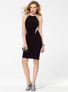 Black Caviar Beaded Sheath Dress #CacheStyle