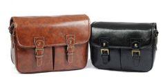 Vintage PU Leather DSLR Camera Shoulder Messenger Bag 4 Canon Nikon Sony Insert