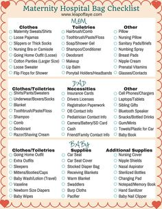 Maternity Checklist Photo