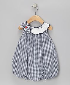 Take a look at this Navy & White Seersucker Bubble Romper - Infant on zulily today!