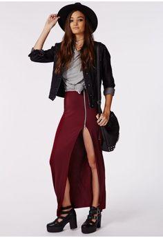 Missguided - Natallia Zip SIde Split Maxi Skirt Burgundy