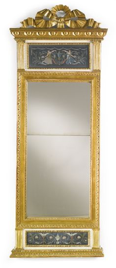 A GUSTAV IV SWEDISH NEOCLASSICAL PARCEL-GILT AND POLYCHROME-PAINTED MIRROR LATE 18TH CENTURY
