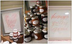 Homemade jam and honey wedding favors