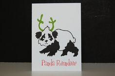Pandas for Panda, Set of Four Letterpress Cards, Printed by LionOfBali