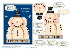 Christmas card with cute snowmen   children family sentiment tags on Craftsuprint - View Now!